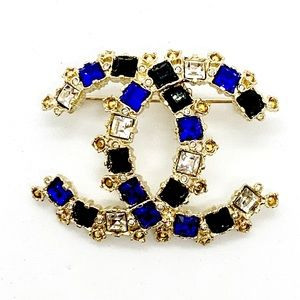 CHANEL Brand New Large Crystal Blue Gold Brooch